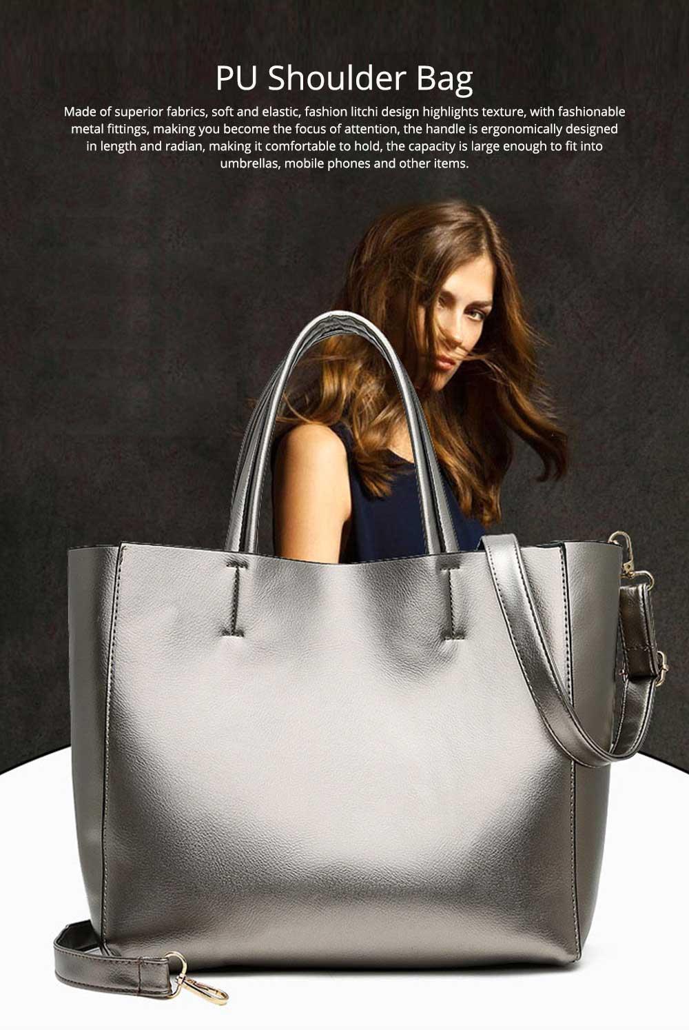 Elegant Tote Bag Shoulder Bag, Retro PU Leather Fashion Litchi Grain Large Size Clutch Bags, 2019 Fashion Handbag with Purse 0