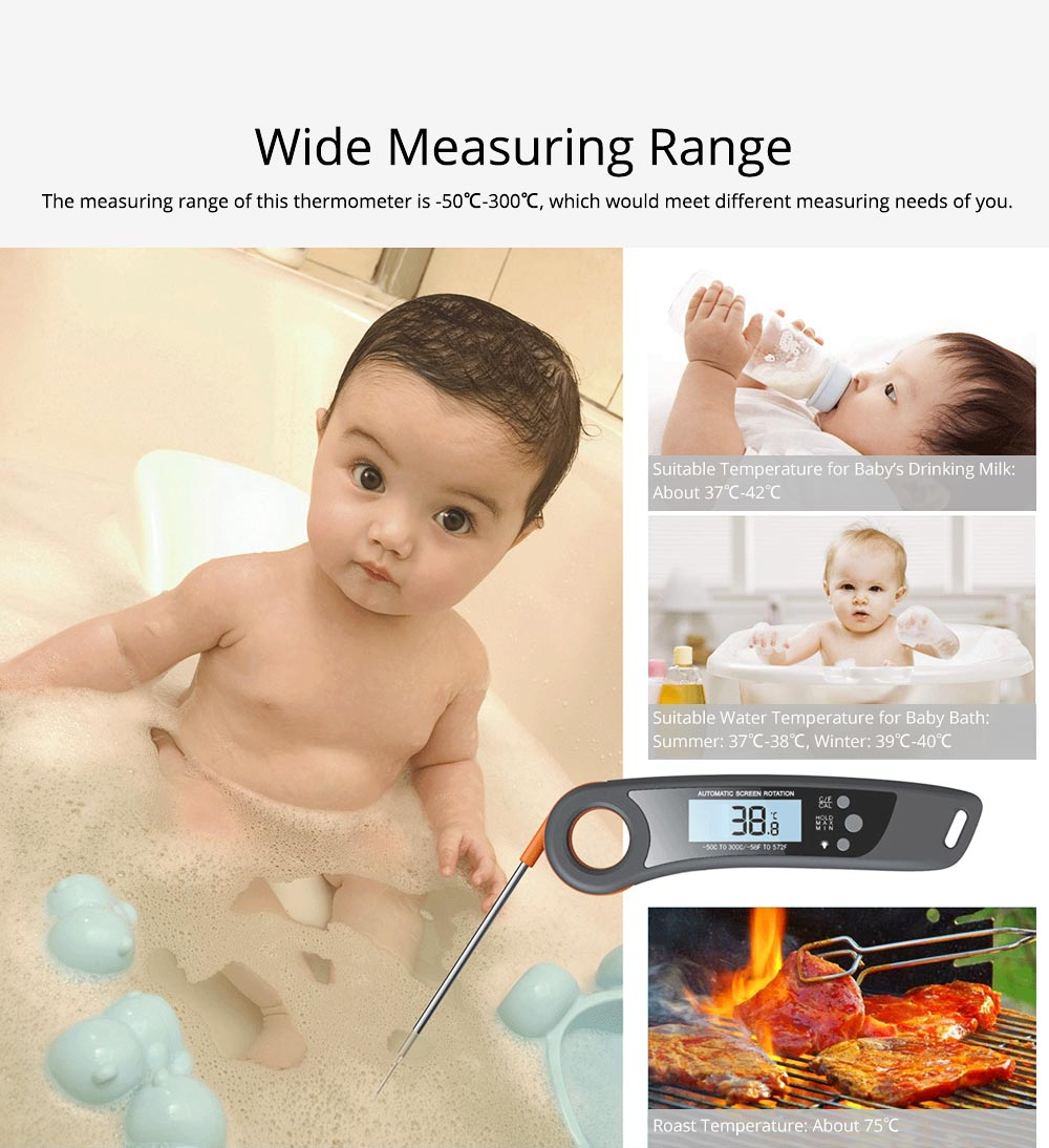 Waterproof Foldable Digital Electric Kitchen Thermometer, Breaking-proof ABS 304 Stainless Probe Temperature Gauge for Barbecue Water Test 5