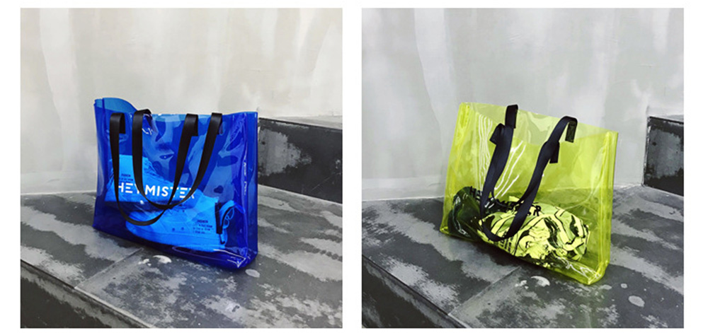 Single shoulder-held Transparent Tote Bag for Women, Fashionable Casual Style Beach Bag 2019 Summer Use 7
