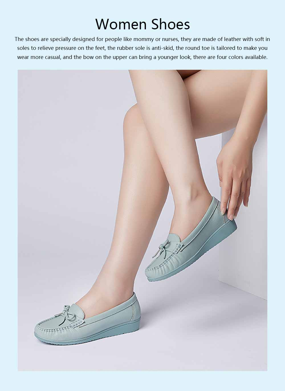 Sandal Leather PU Rubber Material, Flat-heeled Abrasion-resistant Foot Steady Adjustable Shallow Shoes for Mommy Nurse 0