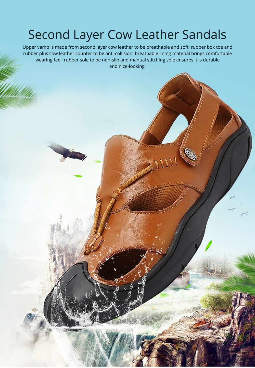 Genuine Leather Men's Sandals, Outdoor Sports Shoes Beach Shoes for Casual Activities, Soft Sole Trending Sandals for Men 0