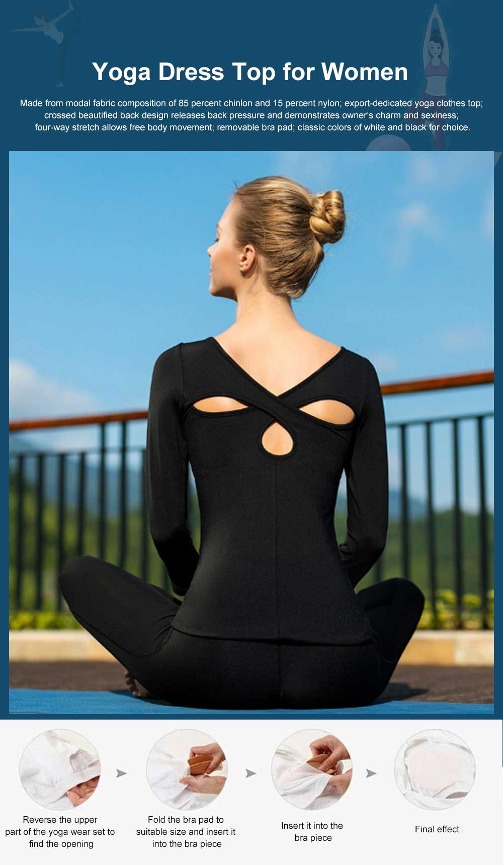 Yoga Clothes Tops for Women, Close-fitting Professional Yoga Dress, Beauty Back Hollow-out T-shirt for Body Exercises, Fitness, Yoga 0