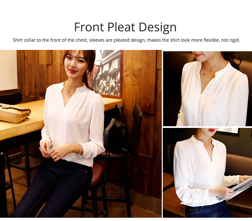 Lady's Chiffon Shirt with Long Sleeves, Base Shirt for Spring, Slim White Shirt for Office, Casual 4