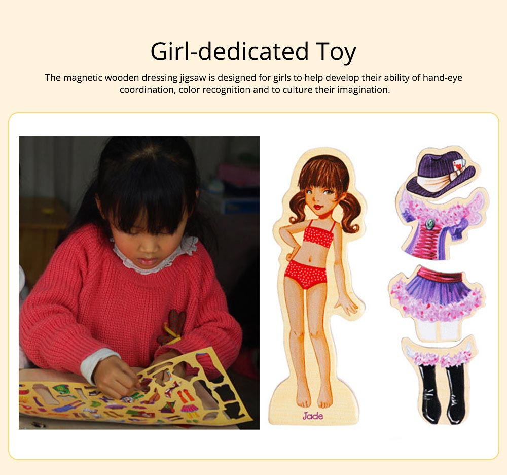 Girl Dressing Change 63 Pieces Dressing Toy, Intelligence Toy for Girls, Girl-dedicated Magnetic Lovely Wooden Playing Tool Two Styles 3