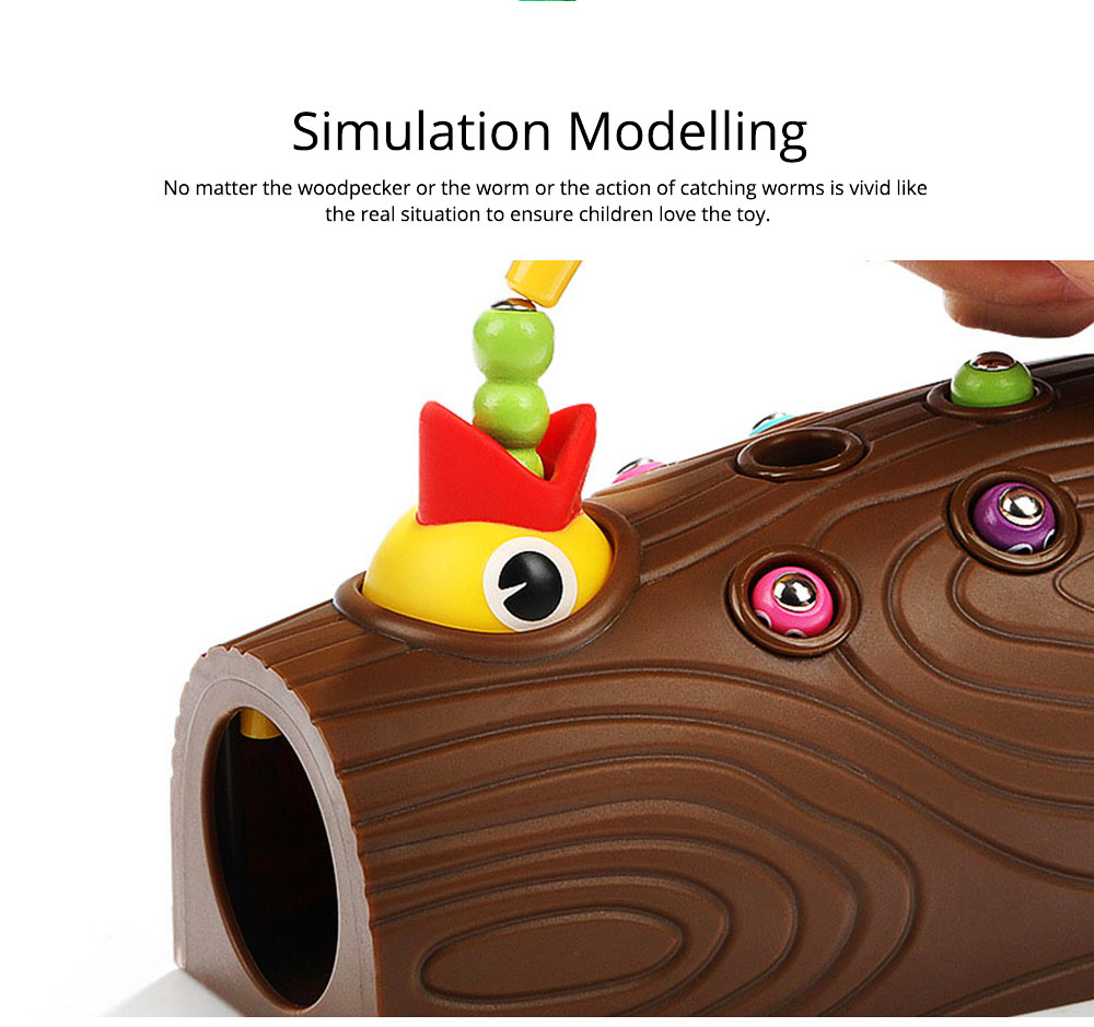 Intelligence Development Wooden Toy of Birds Catching Worms, Early Education Tool for 1-3 Years Boy Girl, Magnetic Children Toy 3