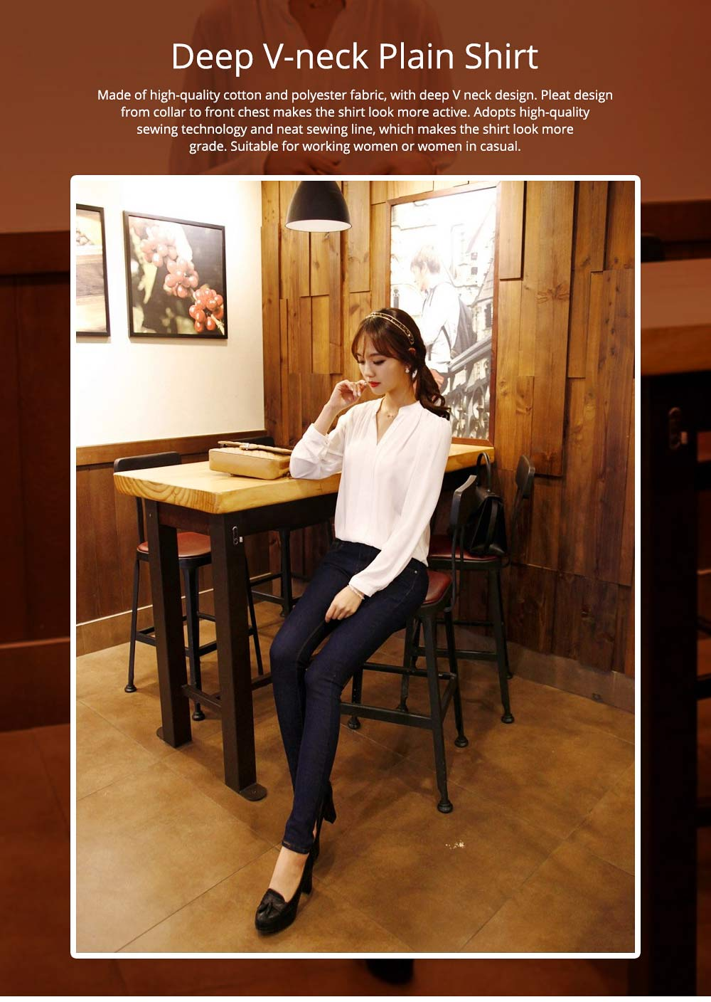 Lady's Chiffon Shirt with Long Sleeves, Base Shirt for Spring, Slim White Shirt for Office, Casual 0