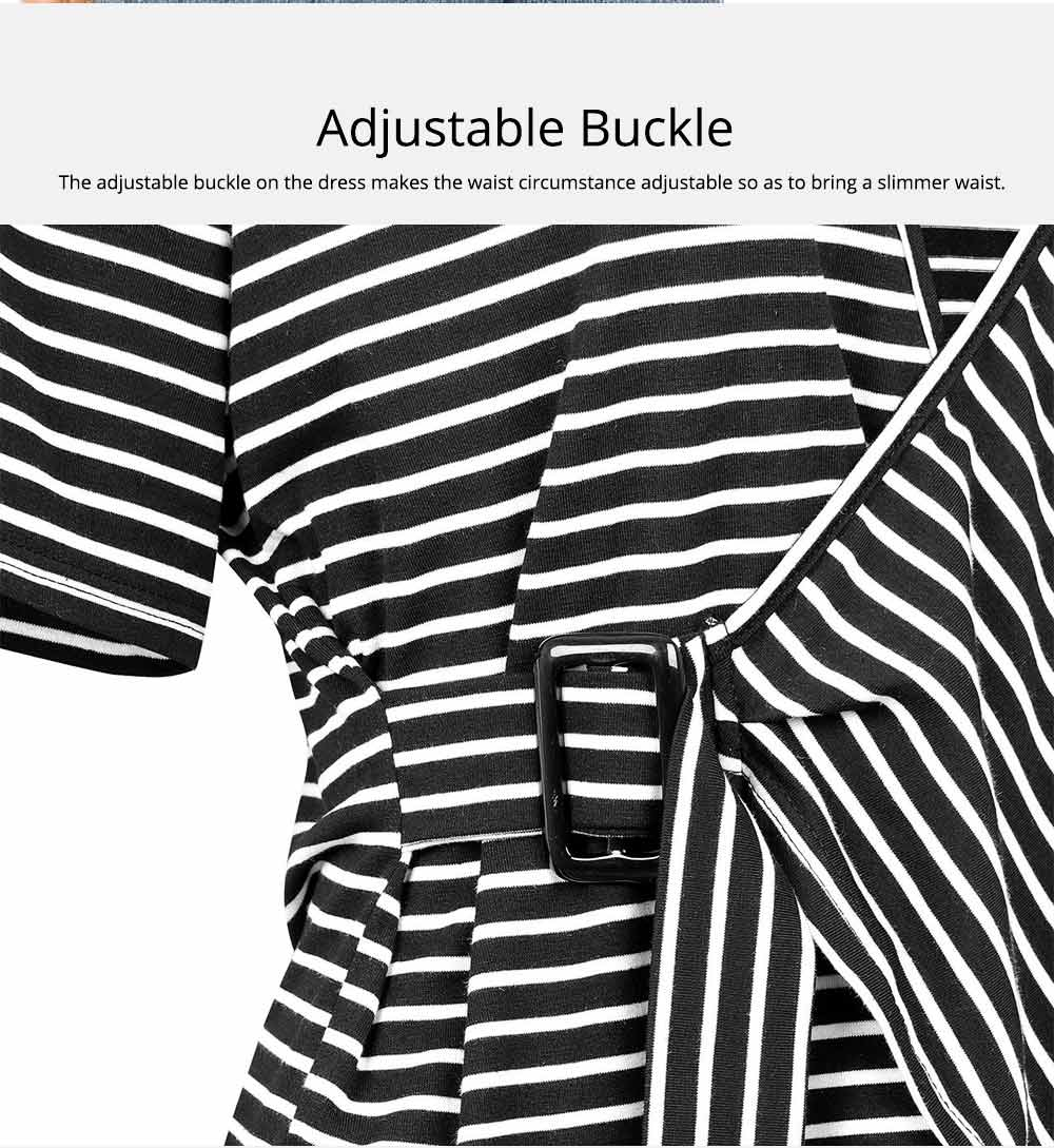 V-Neck Stripe Tees with Adjustable Buckle, Slimmer Waist Middle Sleeve T-shirt for Women Lady 2019 Summer Wear 5