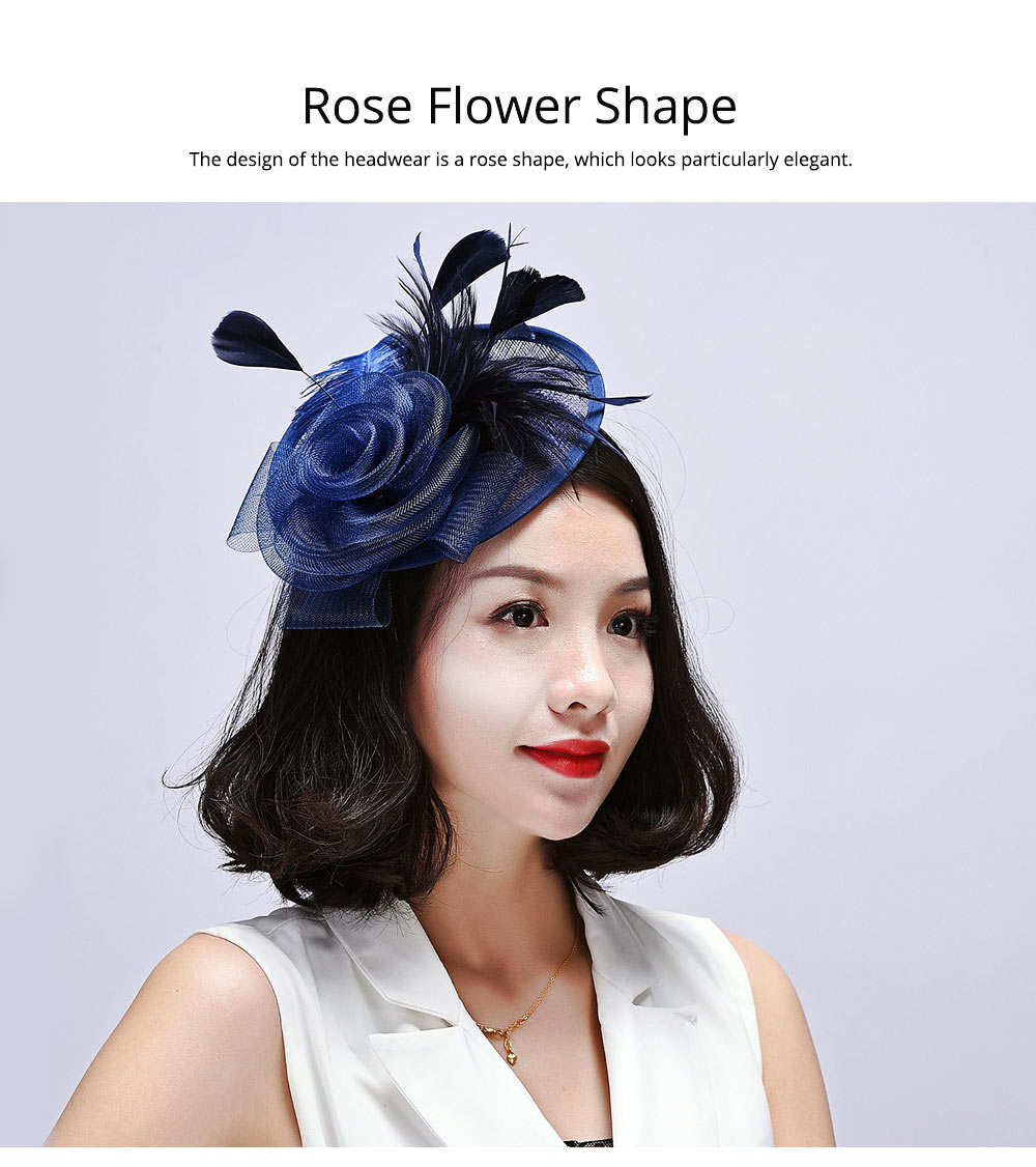 Further Clip for Wedding, Hair Accessories for Cocktail Parties, Headwear for Banquet Rose Shape 4