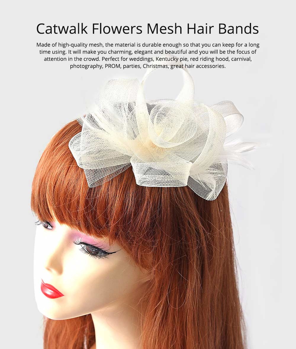 Catwalk Flowers Mesh Hair Bands, Mesh Headwear for Shows, Cocktail Hat for Women Hair Accessories Wearing 0