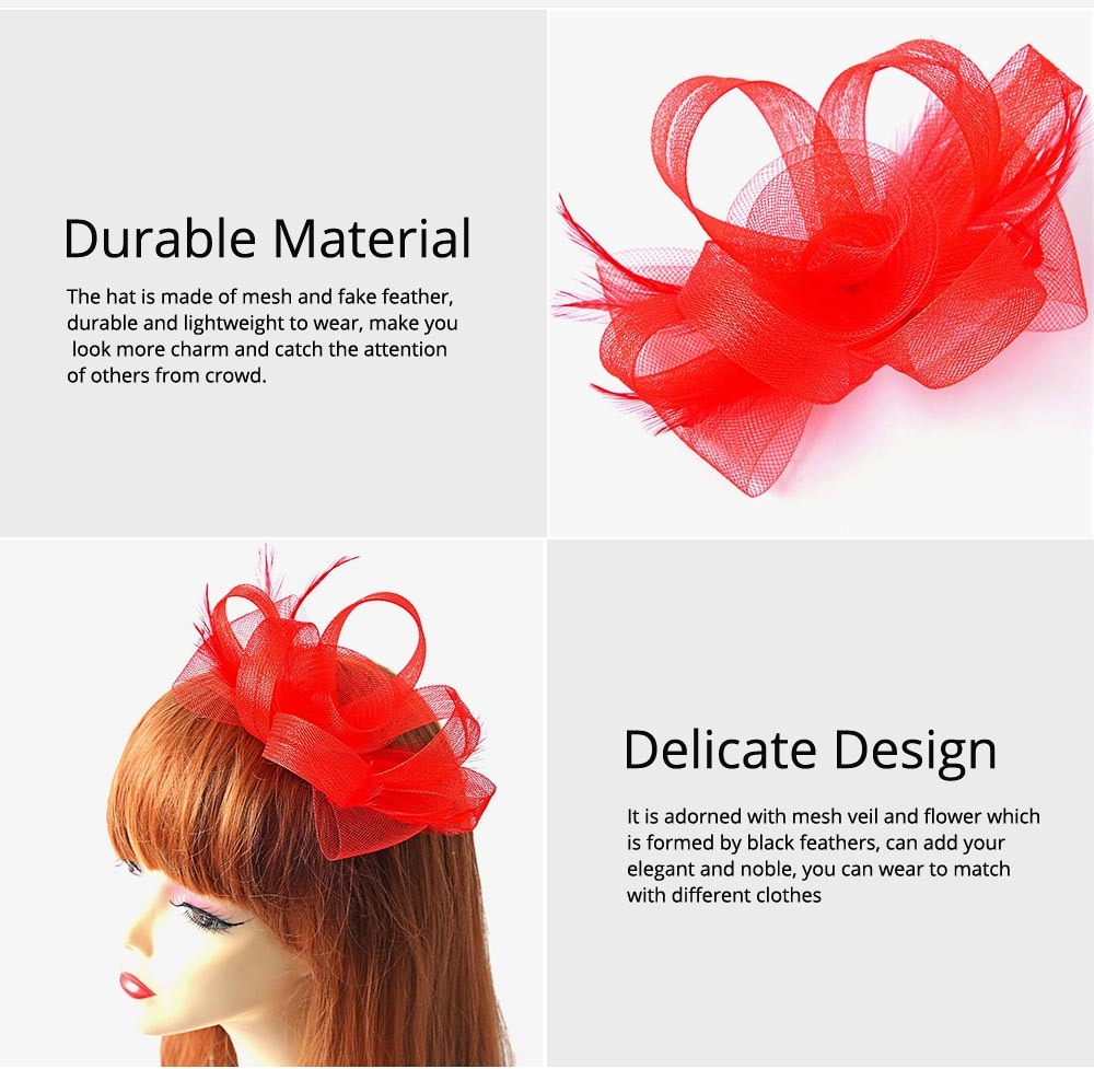 Catwalk Flowers Mesh Hair Bands, Mesh Headwear for Shows, Cocktail Hat for Women Hair Accessories Wearing 2
