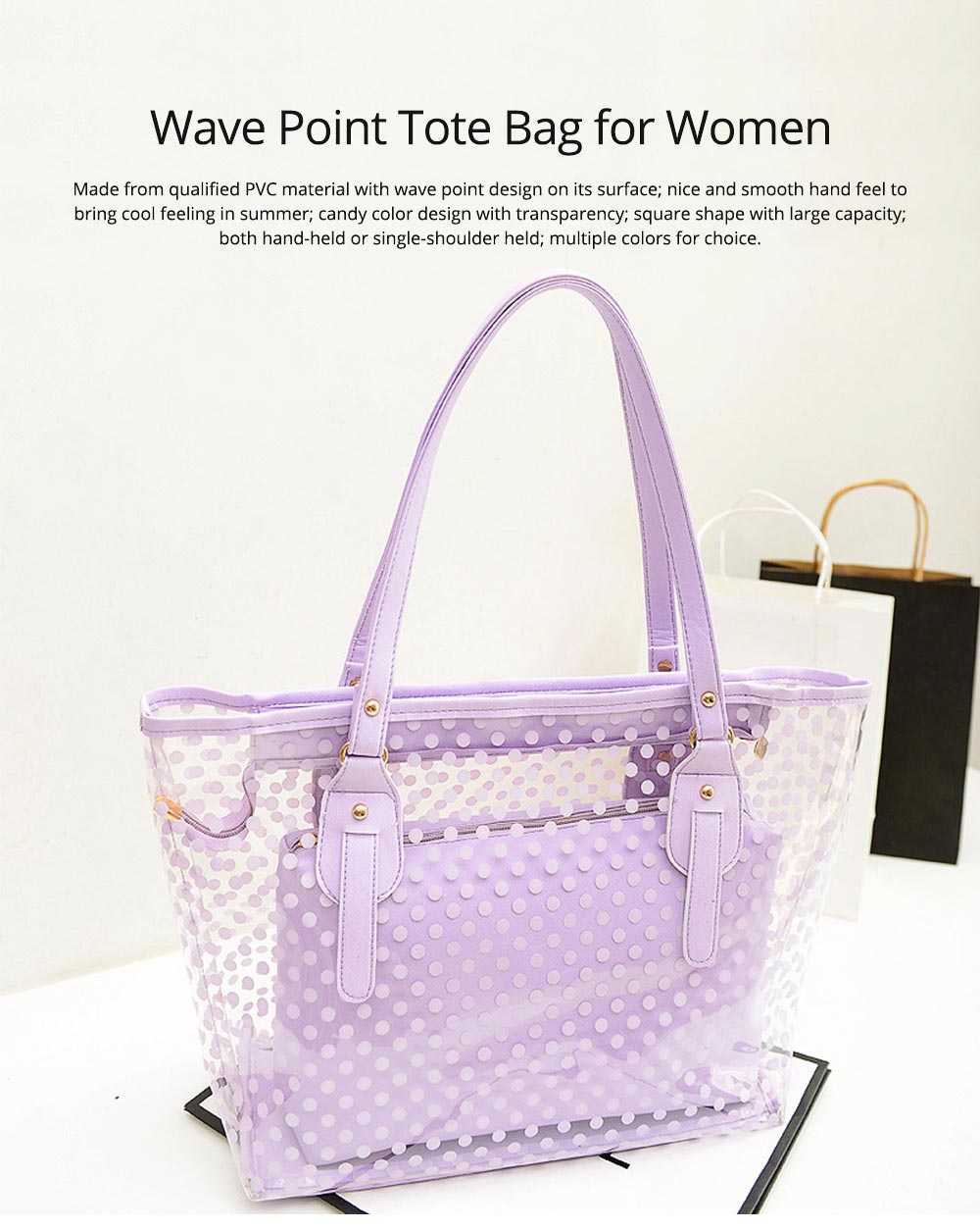 Fresh Color Tote Bag for Women Summer Use Jelly Handbag Wave Point Waterproof PVC Beach Used Crystal Single Shoulder Held Bag 0