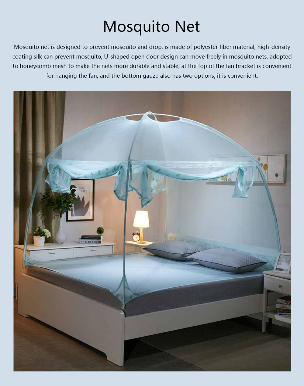 Polyester Fiber Breathable Bed Net, Prevent Drop U-Shape Mosquito Bar, Three Open Door Free-installation Round Top Stable Mosquito-curtain 0