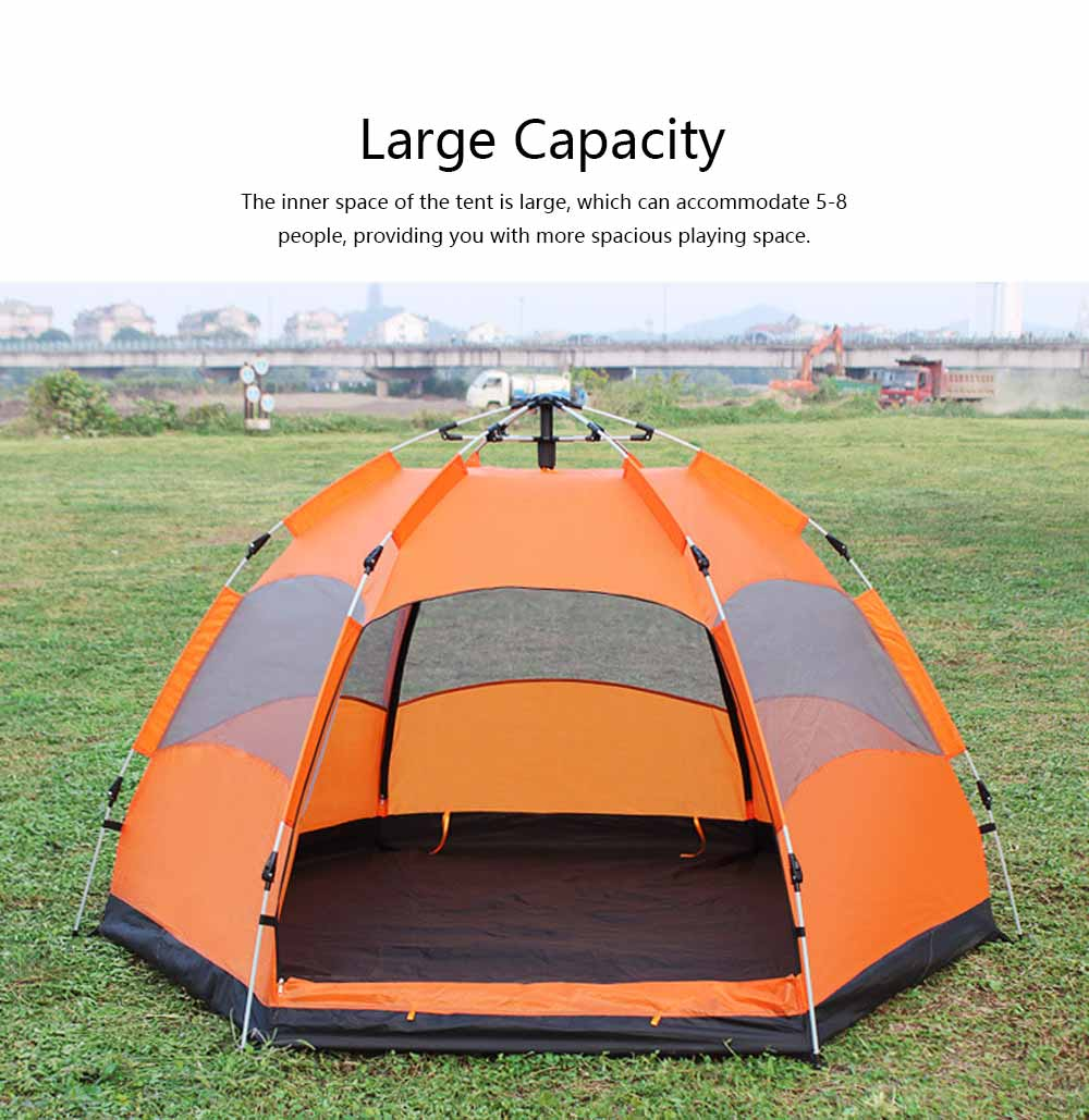 Tent Polyester Fiber Double Layers Waterproof Camping Six Corners for 5-8 People Insect Prevention Automatic Tabernacle 6