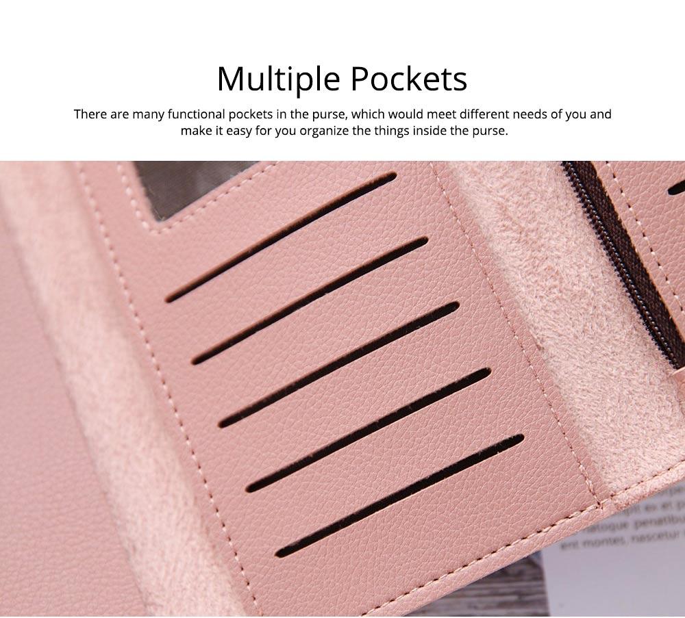 Simple Minimalist Long PU Leather Three-fold Purse, Soft Skin-friendly Large Capacity Women Purse Hand Bag 3
