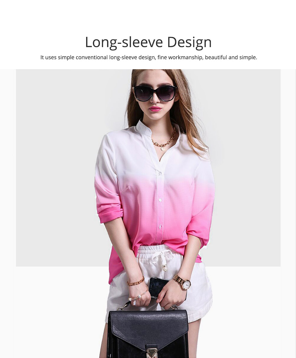 Women Button-down Shirt with Deep V-neck, Long Sleeves Ombre Shirt for Girls Ladies 4