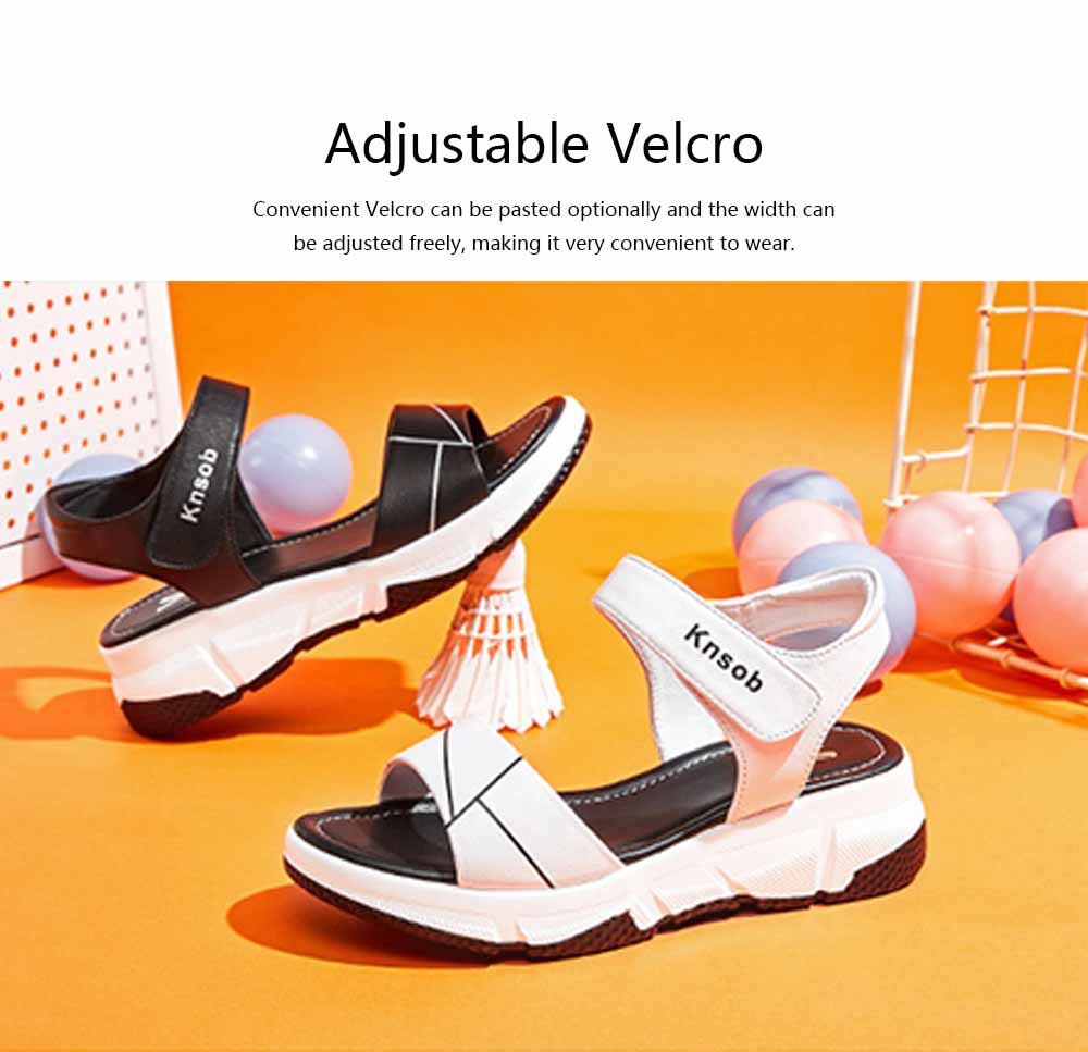 Sport Women Sandal Leather PU Material Flat-heeled Prevent Wear Foot Adjustable Velcro for Girl Shoes Summer 2