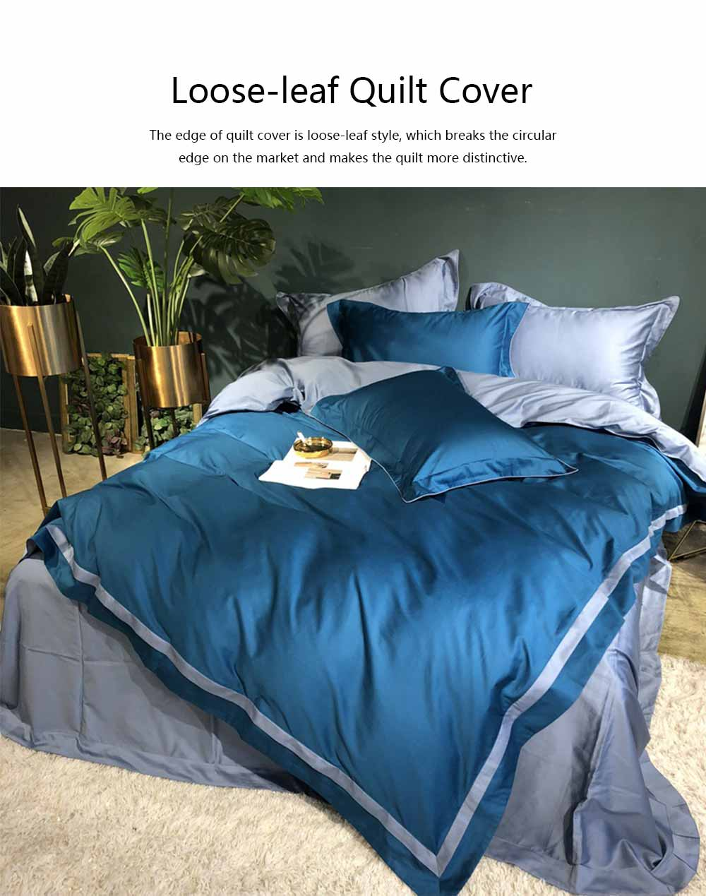 Four-piece Bedding Set Cotton Material, Flat-sheet Pillow Soft Bed Sheet Fitted-sheet Breathable Bedding Bag Comfortable Quilt 4