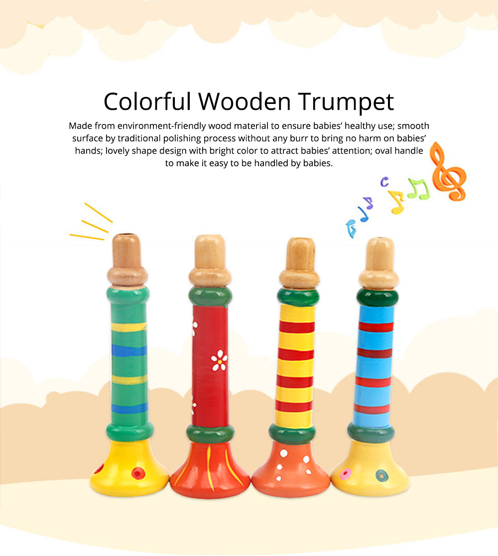 Colorful Wood-made Music Perception Musical Instrument, Early Educational Toy WoodHorn for Children Babies Wooden Trumpet 0