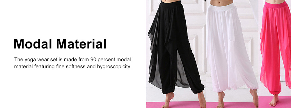 Beauty Shaped Yoga Wear for Women, Cotton Chiffon Yarn Belly Dance Formal Clothes Suit, Slim-fitting Performance Clothes Suit for Yoga, Fitness, Exercise 3