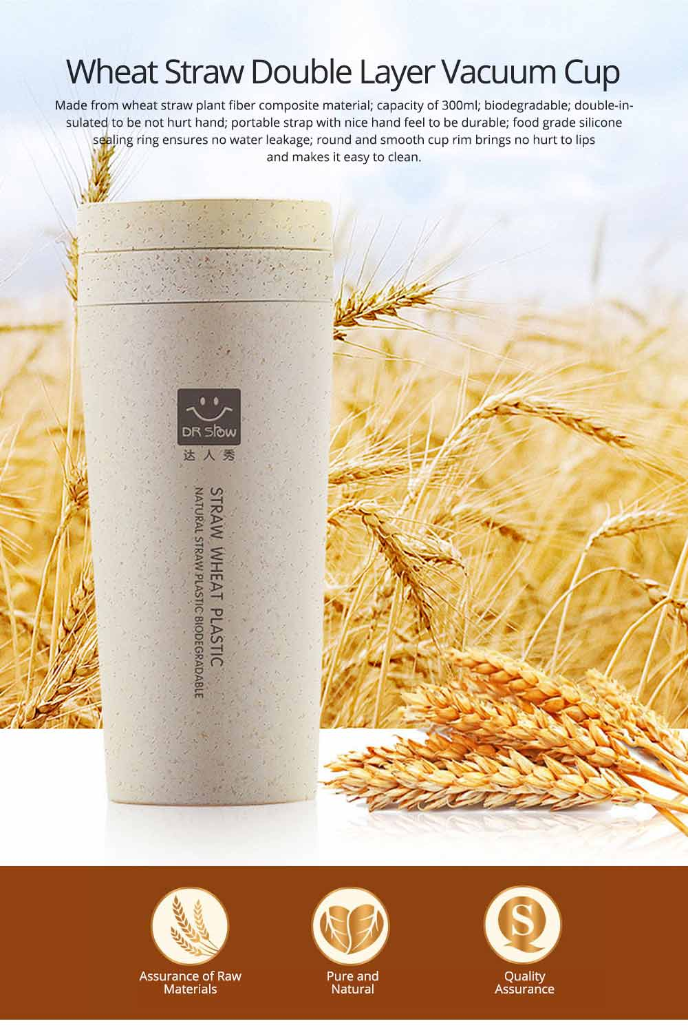 Creative Wheat Smell Cup Sports Cup for Outdoor Activity Use, Portable Plastic Advertising Cup, Wheat Straw Double Insulated Vacuum Cup 0