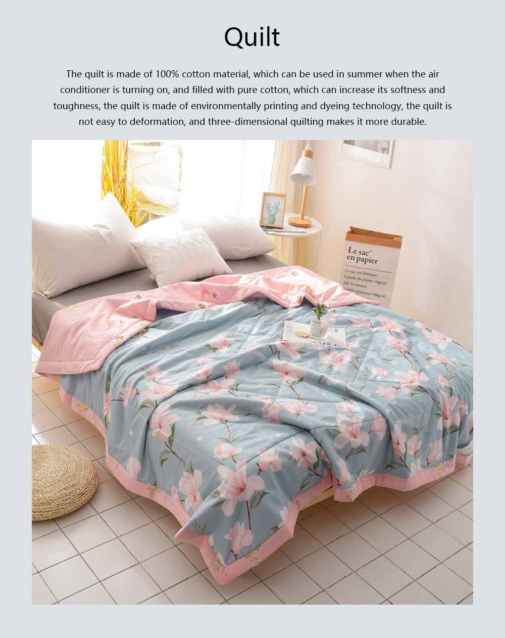 2019 Summer Quilt, Cotton Material Soft Environment Comforter Washing Machine Available, Softness Summer Refreshing Bedspreads 0