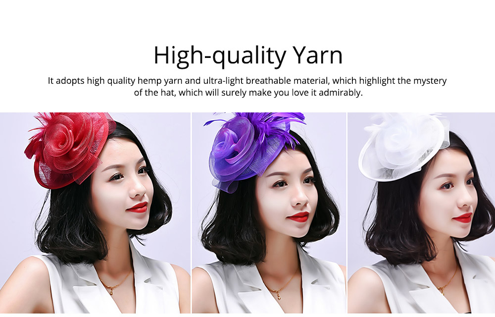 Further Clip for Wedding, Hair Accessories for Cocktail Parties, Headwear for Banquet Rose Shape 1