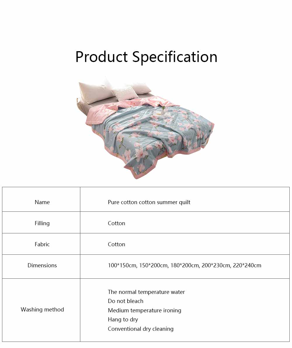 2019 Summer Quilt, Cotton Material Soft Environment Comforter Washing Machine Available, Softness Summer Refreshing Bedspreads 6
