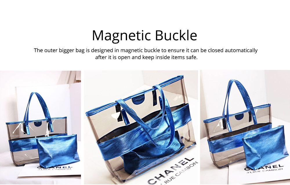 PVC Waterproof Transparent Bag for Women Summer Use, Crystal Tote Bag, Neon Color Jelly Single Shoulder Handbag 4