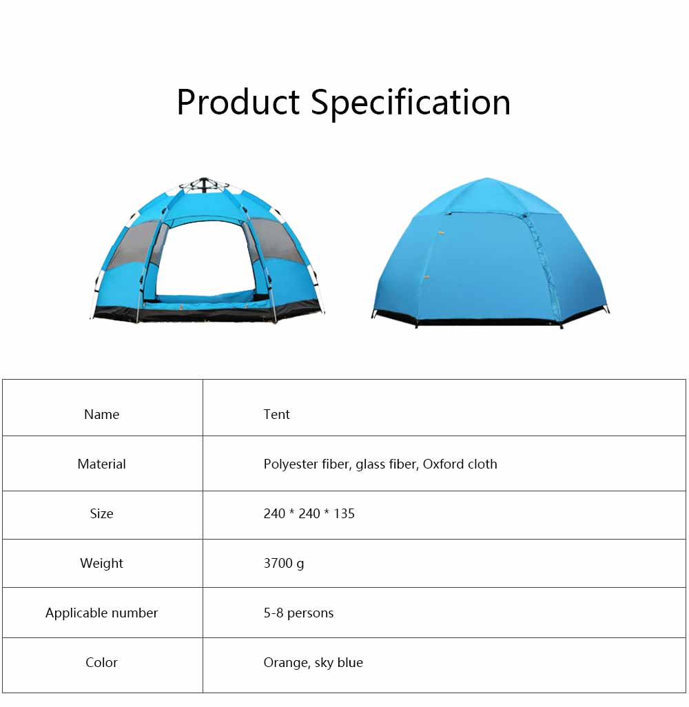 Tent Polyester Fiber Double Layers Waterproof Camping Six Corners for 5-8 People Insect Prevention Automatic Tabernacle 7