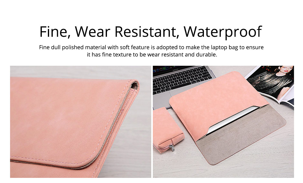 Thin Dull Polished Laptop Bag for Apple, Dell, Lenovo, MacBook Liner Package, Portable MacBook Dedicated Storage Bag with Clutch 8