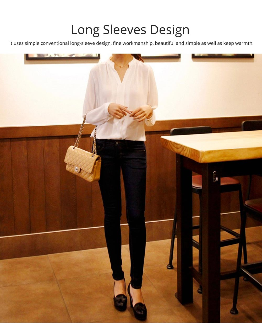 Lady's Chiffon Shirt with Long Sleeves, Base Shirt for Spring, Slim White Shirt for Office, Casual 3