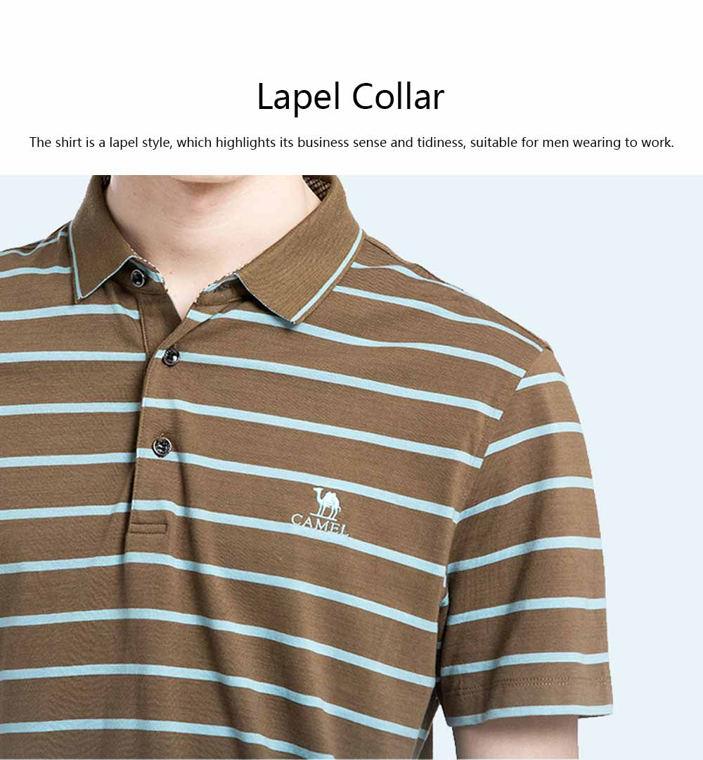 Male T-shirt Cotton Material Business Style Blouse, Peaked Lapel Stripe Printing Style Soft Casual Short Sleeve for Men POLO Shirt 3