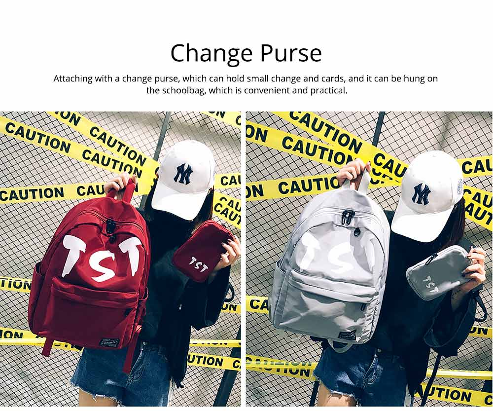 Fashion School Bag with Zipper Student Backpack, Individuality Large Capacity Universal Letters Couple Canvas Shoulder Bag  5