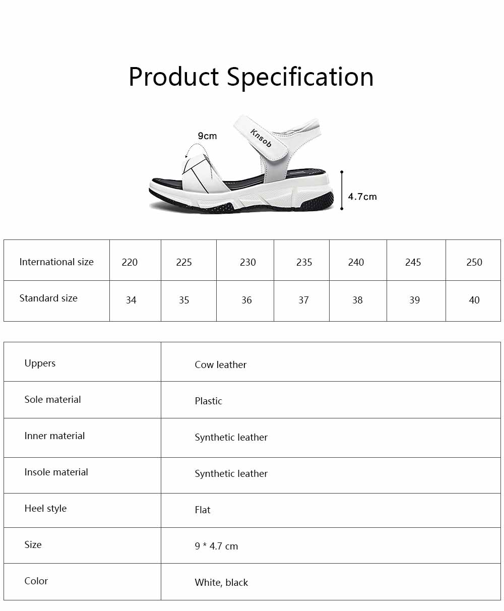 Sport Women Sandal Leather PU Material Flat-heeled Prevent Wear Foot Adjustable Velcro for Girl Shoes Summer 6