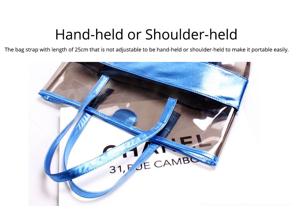 PVC Waterproof Transparent Bag for Women Summer Use, Crystal Tote Bag, Neon Color Jelly Single Shoulder Handbag 5