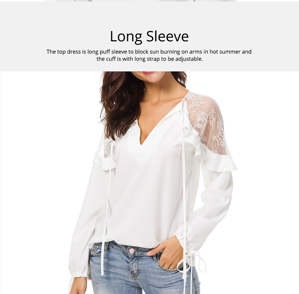Western Style Dress Top for Women 2019 Spring, Lace Joint Undergarment Base Shirt Georgette Dress 6