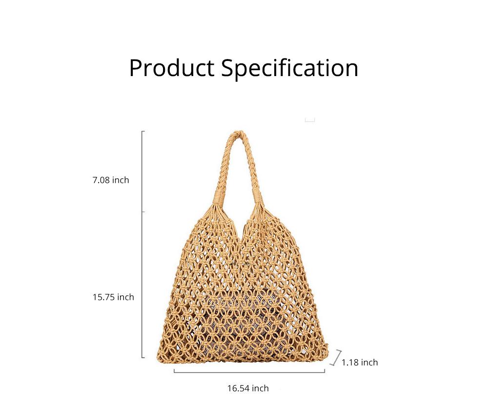 Handmade Woven Bag for Women, Rope Hollow Mesh Straw Bag, Beach Single Shoulder Bag Handbag 2019 New 6