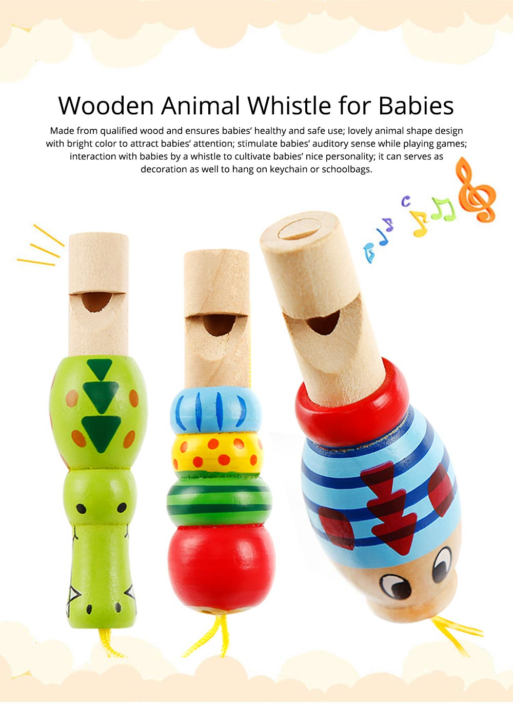 Wooden Animal-shape Whistle for Babies, Early Educational Toy for Children's Use, Musical Cultivation Tool Whistle with Bright Color 0
