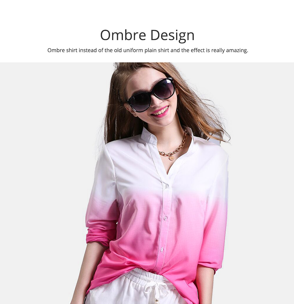 Women Button-down Shirt with Deep V-neck, Long Sleeves Ombre Shirt for Girls Ladies 6