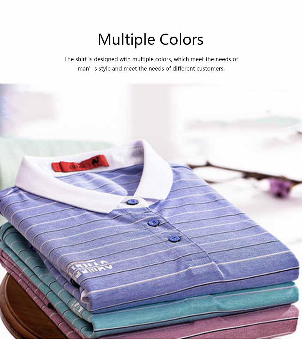 Male T-shirt Cotton Material Business Style Blouse, Peaked Lapel Stripe Printing Style Soft Casual Short Sleeve for Men POLO Shirt 2