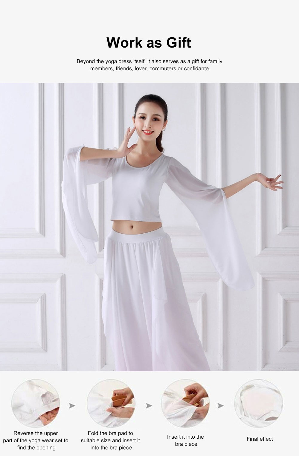 Beauty Shaped Yoga Wear for Women, Cotton Chiffon Yarn Belly Dance Formal Clothes Suit, Slim-fitting Performance Clothes Suit for Yoga, Fitness, Exercise 2