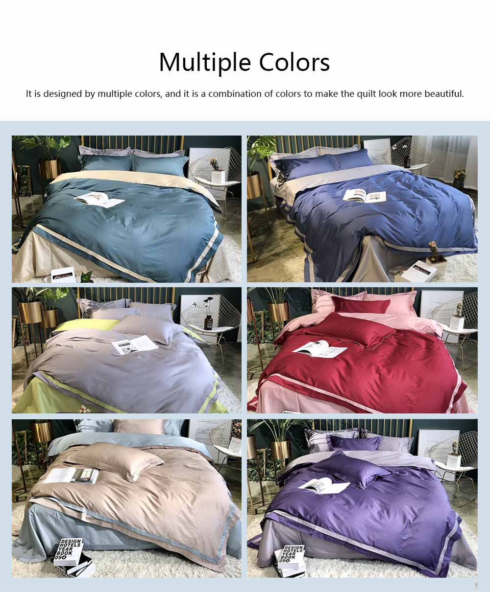 Four-piece Bedding Set Cotton Material, Flat-sheet Pillow Soft Bed Sheet Fitted-sheet Breathable Bedding Bag Comfortable Quilt 2