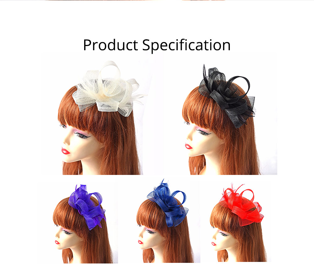 Catwalk Flowers Mesh Hair Bands, Mesh Headwear for Shows, Cocktail Hat for Women Hair Accessories Wearing 4