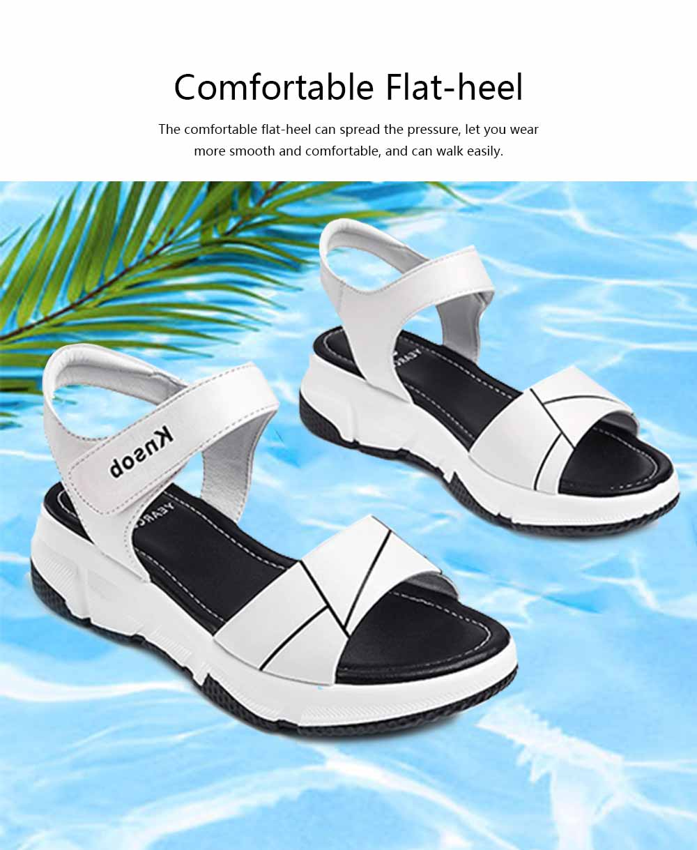 Sport Women Sandal Leather PU Material Flat-heeled Prevent Wear Foot Adjustable Velcro for Girl Shoes Summer 1