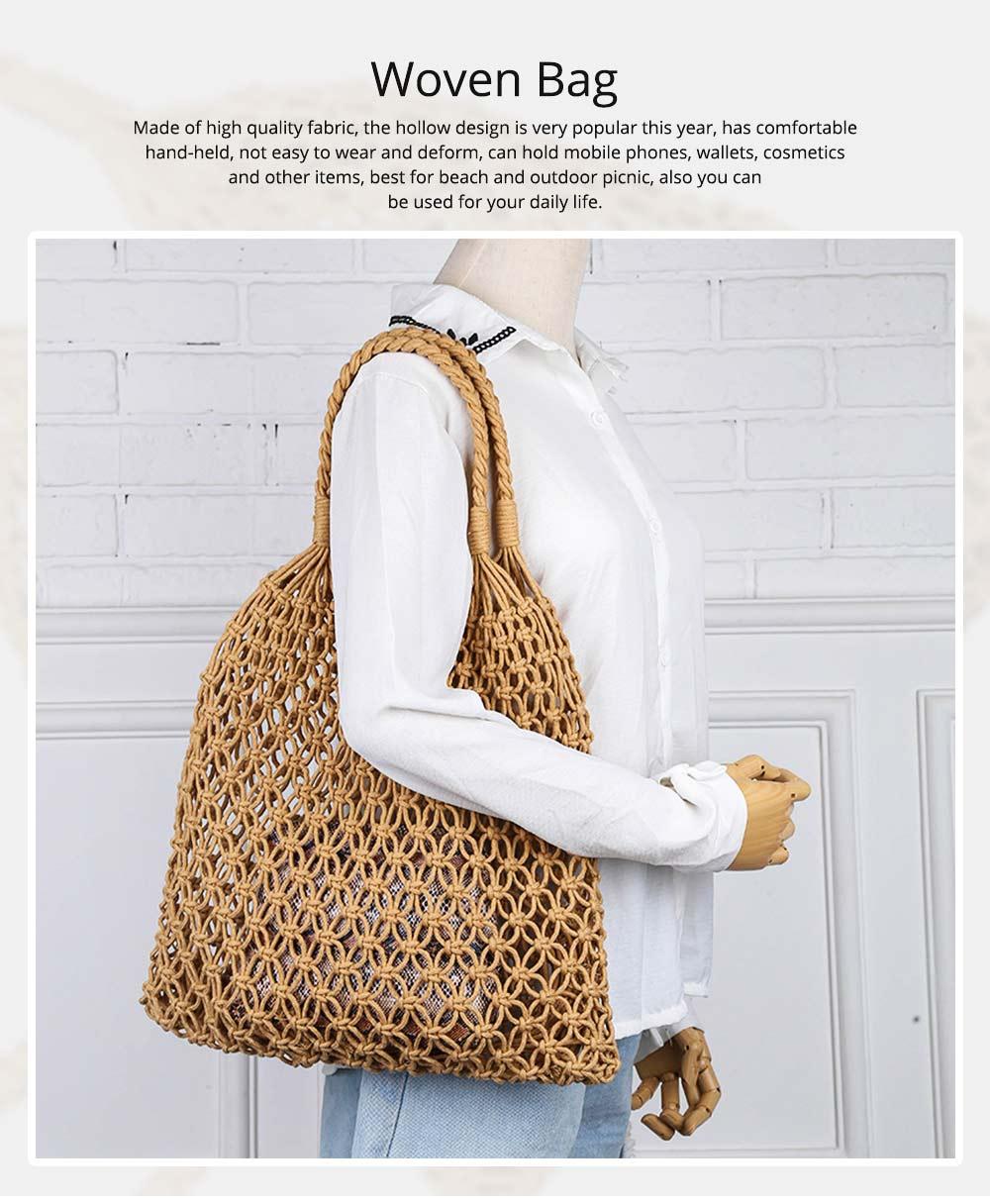 Handmade Woven Bag for Women, Rope Hollow Mesh Straw Bag, Beach Single Shoulder Bag Handbag 2019 New 0