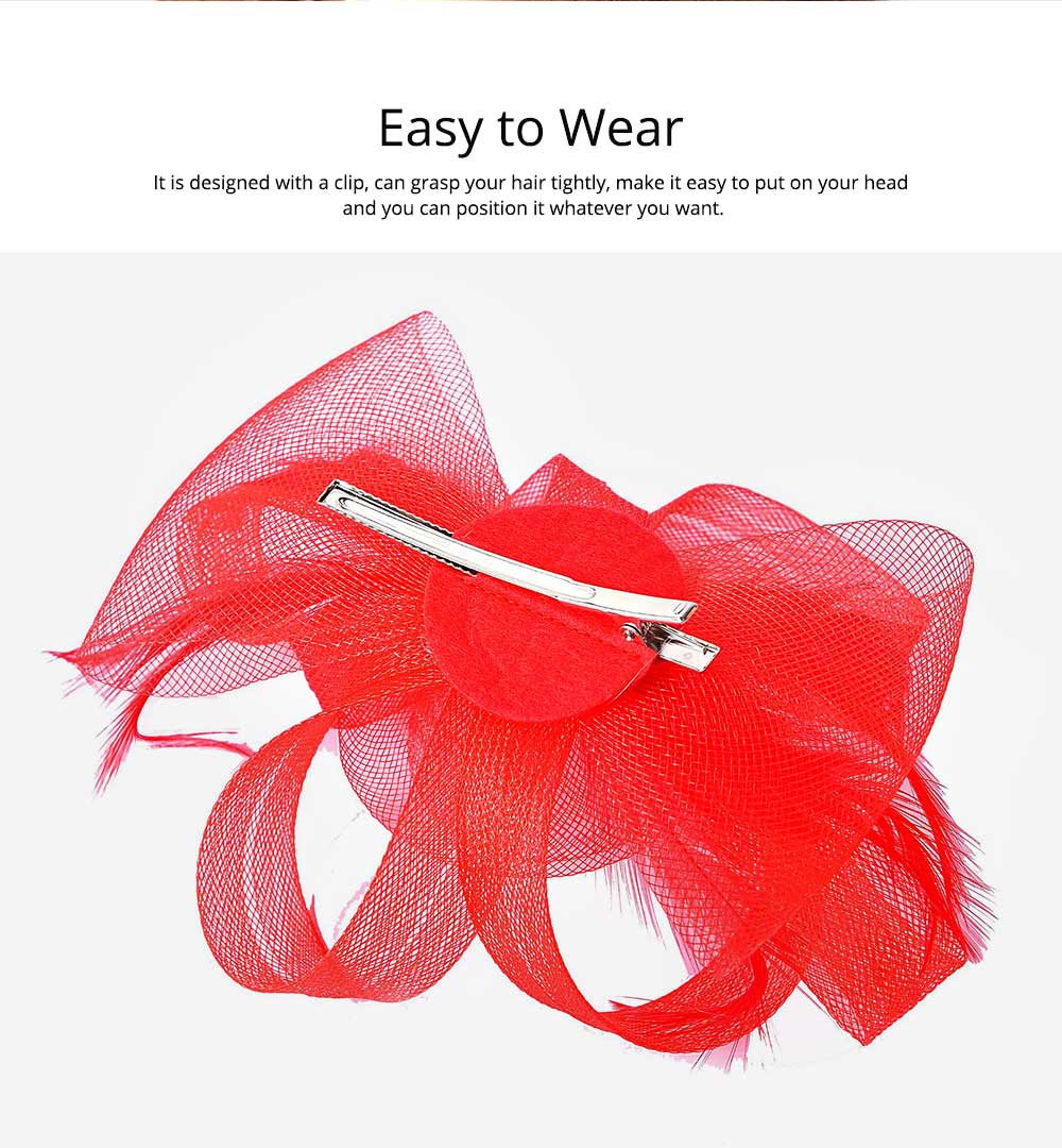Catwalk Flowers Mesh Hair Bands, Mesh Headwear for Shows, Cocktail Hat for Women Hair Accessories Wearing 1
