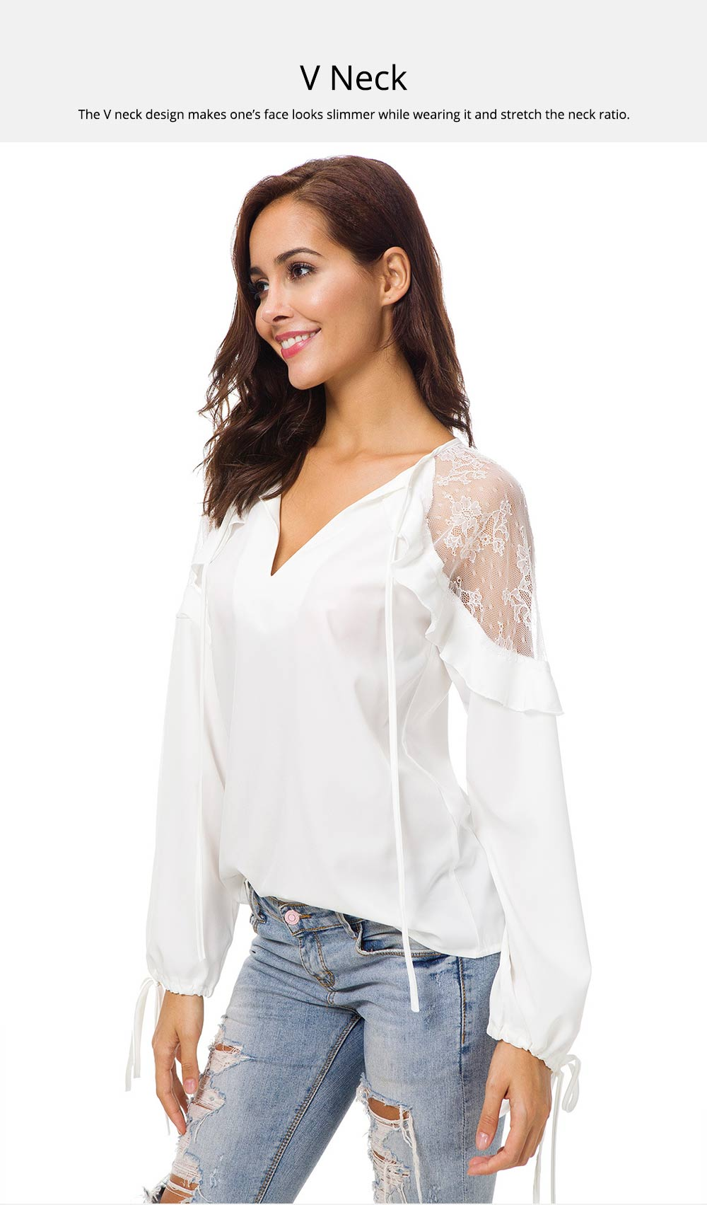 Western Style Dress Top for Women 2019 Spring, Lace Joint Undergarment Base Shirt Georgette Dress 4