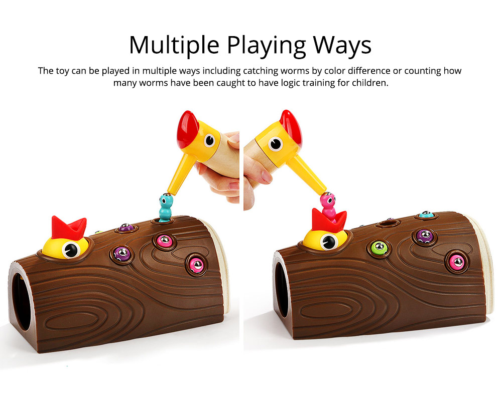 Intelligence Development Wooden Toy of Birds Catching Worms, Early Education Tool for 1-3 Years Boy Girl, Magnetic Children Toy 6
