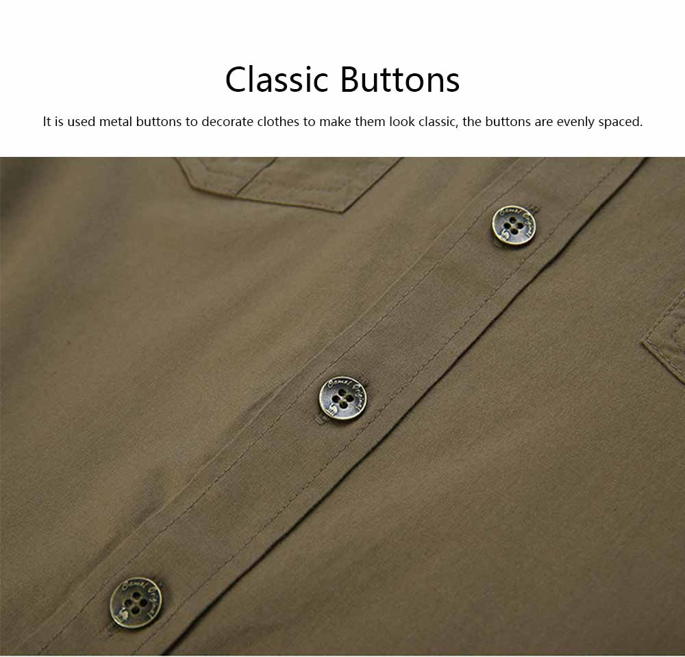 Polo Shirt Cotton Material with Metal Buckle Blouse, Peaked Lapel Comfortable Short Sleeve for Men Shirt 2