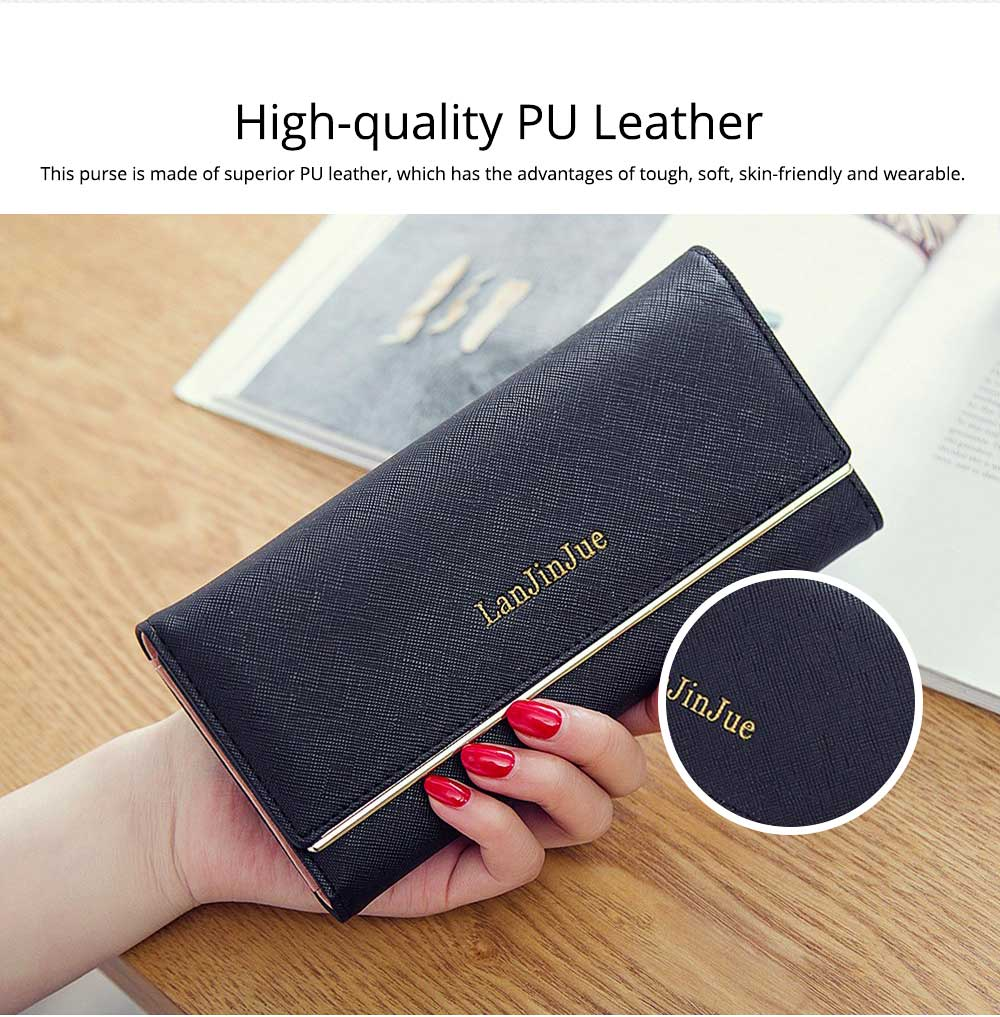 Minimalist Portable Long Three Fold Women Purse, Skin-friendly PU Leather Large Capacity Purse for Ladies 1
